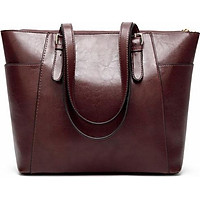 French Retro Tote Bag For Women Oil Wax Leather Handbag