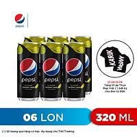 Lốc 6 Lon Nước Uống Có Gaz Pepsi Vị Chanh Không Calo (320ml/Lon)