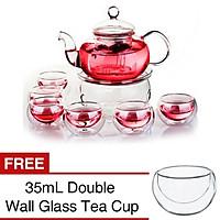 Borosilicate Glass Tea Pot Set Infuser Teapot Warmer 6Double Wall Tea Cups