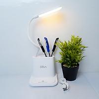 Đèn đọc sách - Đèn để bàn H104 - Đèn Bàn Học Đọc Sách LED Tích Điện Có Hộp Bút Và Giá Để Điện Thoại