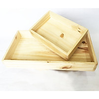 Combo 2 khay gỗ tự nhiên đa năng chữ nhật size S (D23xR16xC6) và size M (D40xR23xC5.5) gỗ thông