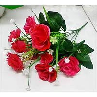 Hoa giả Chùm hoa Hồng Đỏ 11 bông lớn trang trí