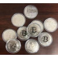 Tiền xu Bitcoin màu bạc combo 10 viên