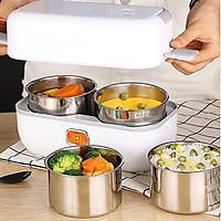Cặp lồng Hộp cơm điện nấu chín và giữ nhiệt đồ ăn, nồi cơm điện mini dung tích 2 lít, nấu cơm hâm nóng hấp trứng thiết kế 4 ngăn inox thiết kế kiểu dáng nhỏ gọn tiện lợi hình chữ nhật cho nhân viên văn phòng