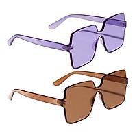2pcs Vintage Fashion One Piece Sunglasses Square Rimless Designer Eyeglasses
