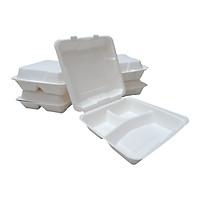 50 Hộp cơm Bã mía nắp liền 3 ngăn màu trắng, dung tích 1560ml, dùng 1 lần, tự phân hủy và dùng được lò vi sóng. Hộp cơm Take-away dùng 1 lần