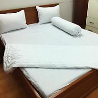 Bộ chăn drap giường cotton trắng A cao cấp (1 chăn, 1 ga, 2 vỏ gối nằm, 1 vỏ gối ôm)