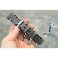 1 Dây đồng hồ da bò cho Casio AE1200 WHD và Seiko 5 37mmDa bò xám than quân đội Đức