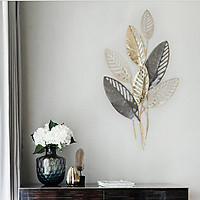 Phù điêu hình lá treo tường trang trí phòng khách