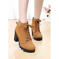 Giày Boot Nữ Da Lộn Khóa Kéo, Khuy Cài Cổ