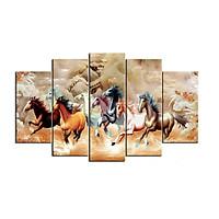 Bộ 5 tấm tranh treo tường Mã Đáo Thành Công T3M-10874 /Gỗ nhập khẩu Hàn Quốc-Bo viền,chống lóa,ẩm mốc,mối mọt