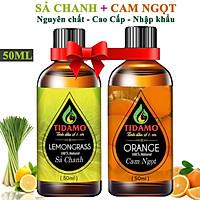 Combo 2 Tinh Dầu Sả Chanh 50ML + Tinh Dầu Cam Ngọt 50ML (Lemongrass + Orange) - Tinh Dầu TIDAMO Cao Cấp Nhập Khẩu Giúp Thư Giãn, Đuổi Muỗi Và Thơm Phòng