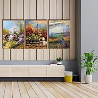 Bộ tranh canvas sơn dầu mùa thu Châu Âu - B3C006