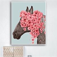 Tranh sơn dầu số hoá tự tô đã căng khung cô ngựa