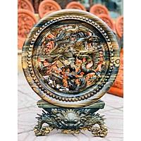 Tranh đĩa Tứ Linh gỗ Mun hoa nguyên khối ( Đĩa 40cm ) hàng trạm tay cực đẹp