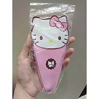 Móc khóa ví da PU cartoon cute - Hello Kitty kem ốc quế hồng nhạt