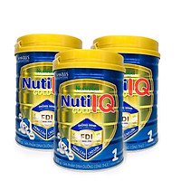 Bộ 3 lon sữa Nuti IQ Gold 1 900g (mới) - Phát triển não bộ và thị giác, Tăng cường sức đề kháng, Phát triển cân nặng - chiều cao, Tiêu hoá - hấp thu tốt, Ngăn ngừa táo bón