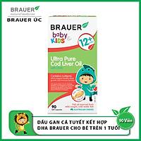 Viên mềm Dầu gan cá Tuyết tinh khiết và DHA Brauer Baby & Kids Ultra Pure Cod Liver Oil with DHA cho bé trên 1 tuổi (90 viên) - Nhập khẩu Australia