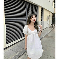 ĐẦM TRẮNG TAY BỒNG NƠ NGỰC M.O.N Boutique