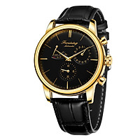 Forsining Watch Men's Automatic Mechanical Watch with Leather Strap 3ATM Fashion Casual Wristwatch