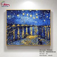 Tranh sơn dầu số hóa tự tô màu trừu tượng - Mã PC0584 Đêm đầy sao trên sông Rhone