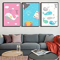 Bộ 3 tranh canvas treo tường Decor Cá và Mèo phong cách enjoy the day - DC095