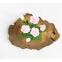Hoa đất sét mini kết hợp gỗ - Bụi Hồng phấn