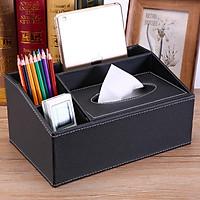 Hộp đựng khăn giấy kết hơp điều khiển, bút đa năng chất lệu da cao cấp