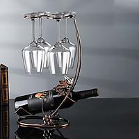 Giá để rượu vang kèm chân đế treo ly rượu
