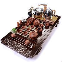 Bàn trà điện thông minh giá rẻ trạm hoa - Gồm đầy đủ bàn, bộ bếp pha trà, cùng ấm chén , bàn màu nâu cánh dán