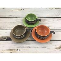 Bộ tách cà phê lõm gốm Bát Tràng (màu sắc)