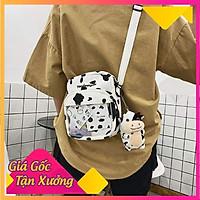 Túi đeo chéo vải đựng đồ canvas in hình bò sữa bóng kính phong cách Hàn Quốc siêu HOT HIT 2021