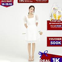 Đầm dáng xòe nữ thiết kế lông vũ cổ vuông kết hợp rã eo GUMAC DB544