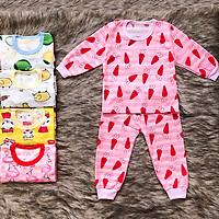Bộ cotton giấy Thái dài tay cho bé gái và bé trai 2-15kg có bo dày giữ ấm cho bé chất thun co giãn thông thoáng họa tiết ngộ nghĩnh – SBVN022