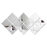 gương dán tường hình vuông decor phòng khách, cửa hàng kính thủy tinh
