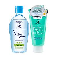 Combo Nước Tẩy Trang Senka All Clear Water Anti Shine 230ml + Sữa Rửa Mặt Senka Perfect Whip Acne Care 100g