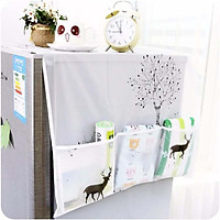 Tấm phủ bảo vệ tủ lạnh chống thấm, chống bụi bẩn, làm sạch nóc tủ lạnh có ô để đồ tiện lợi kèm thêm viên nhựa hình tròn trang trí tủ lạnh sinh động (Giao ngẫu nhiên)