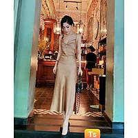 Váy thiết kế body 2 dây, váy lụa hai dây hở lưng, đính ngọc ngực - H&N Store