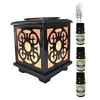 3 tinh dầu quế Eco 10ml và đèn xông tinh dầu gỗ vuông AH43 và 1 bóng đèn