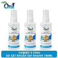 COMBO 3 Chai Dung Dịch Sát Khuẩn Tay Nhanh On1 Protect Hương BamBoo Charcoal 100ml C0201 (Mẫu Mới 2021)