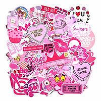 Sticker Factory - Set 100 sticker hình dán - Pink màu hồng