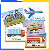 44 Thẻ Học Thông Minh Bé Nhận Biết Phương Tiện Giao Thông - Thẻ in 2 Mặt, Kích Thước 11 x 16 Cm, Song Ngữ Anh - Việt