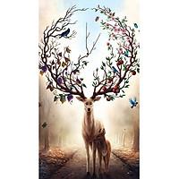 Tranh sơn dầu số hoá tự vẽ - Thần rừng hưu sao