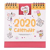 Lịch Để Bàn 2020 (15 x 16cm) - Hình Chuột Màu Hồng
