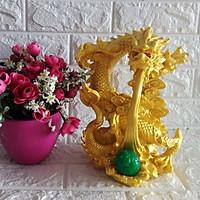 Tượng rồng vàng phun ngọc châu đá poly vàng- RDV25