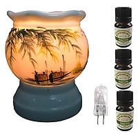 Đèn xông tinh dầu size L AH04 và 3 tinh dầu bạc hà Eco 10ml và 1 bóng đèn