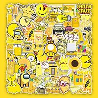 Set 50 Hình Sticker Chủ Đề Vàng Pastel