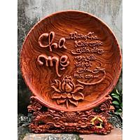Đĩa gỗ trang trí cha mẹ bằng gỗ hương đường kính đĩa 30 - 35 - 40 cm dày 4 cm