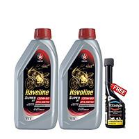 Combo 2 bình nhớt động cơ xe số và xe côn tay Caltex Havoline  Super 4T 20W50 API SL JASO MA2 1L tặng dung môi pha xăng
