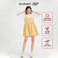 Đầm nữ hai dây babydoll dễ thương màu caro vàng GUMAC DB470